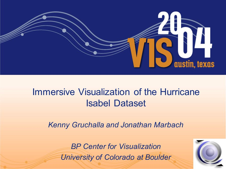 Immersive Visualization of the Hurricane Isabel Dataset Kenny Gruchalla and Jonathan Marbach BP Center for Visualization University of Colorado at Boulder