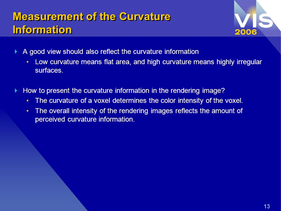13 Measurement of the Curvature Information A good view should also reflect the curvature information Low curvature means flat area, and high curvature means highly irregular surfaces.
