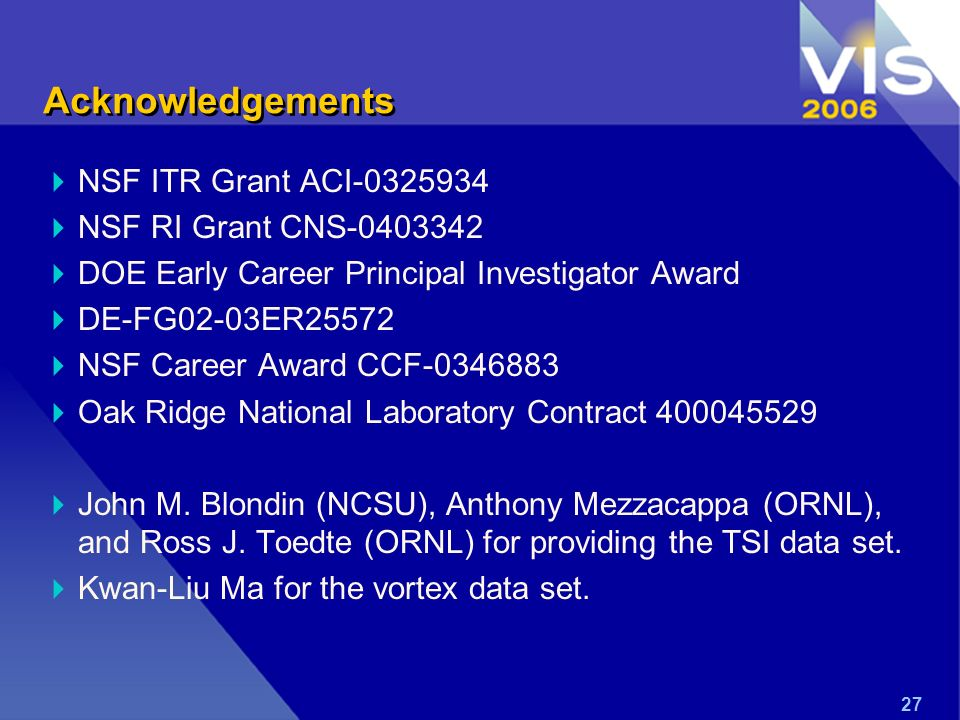 27 Acknowledgements NSF ITR Grant ACI NSF RI Grant CNS DOE Early Career Principal Investigator Award DE-FG02-03ER25572 NSF Career Award CCF Oak Ridge National Laboratory Contract John M.