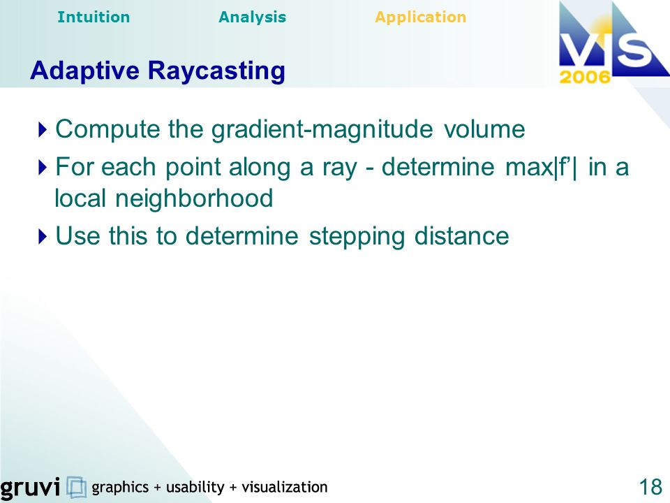 18 Adaptive Raycasting Compute the gradient-magnitude volume For each point along a ray - determine max|f| in a local neighborhood Use this to determi
