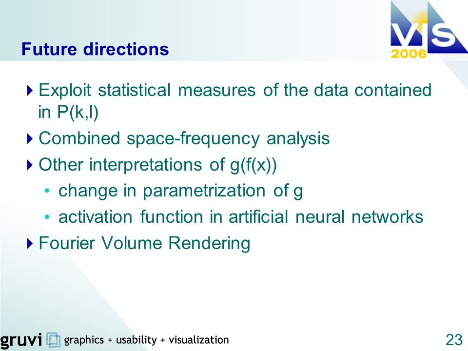 23 Future directions Exploit statistical measures of the data contained in P(k,l) Combined space-frequency analysis Other interpretations of g(f(x)) c