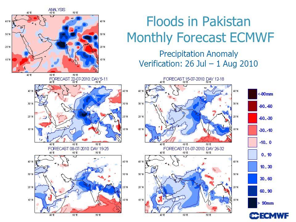 Floods in Pakistan Monthly Forecast ECMWF Precipitation Anomaly Verification: 26 Jul – 1 Aug 2010