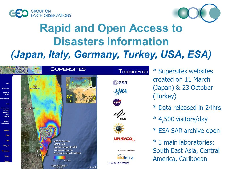 © GEO Secretariat Rapid and Open Access to Disasters Information (Japan, Italy, Germany, Turkey, USA, ESA) * Supersites websites created on 11 March (