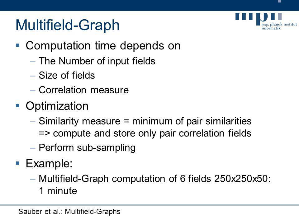 Sauber et al.: Multifield-Graphs Computation time depends on –The Number of input fields –Size of fields –Correlation measure Optimization –Similarity measure = minimum of pair similarities => compute and store only pair correlation fields –Perform sub-sampling Example: –Multifield-Graph computation of 6 fields 250x250x50: 1 minute Multifield-Graph