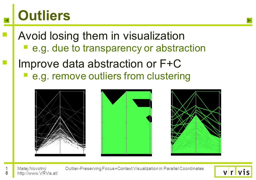 Matej Novotný http://www.VRVis.at/ 1818 Outlier-Preserving Focus+Context Visualization in Parallel Coordinates Outliers Avoid losing them in visualiza