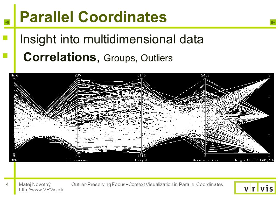 Matej Novotný http://www.VRVis.at/ 4 Outlier-Preserving Focus+Context Visualization in Parallel Coordinates Parallel Coordinates Insight into multidim