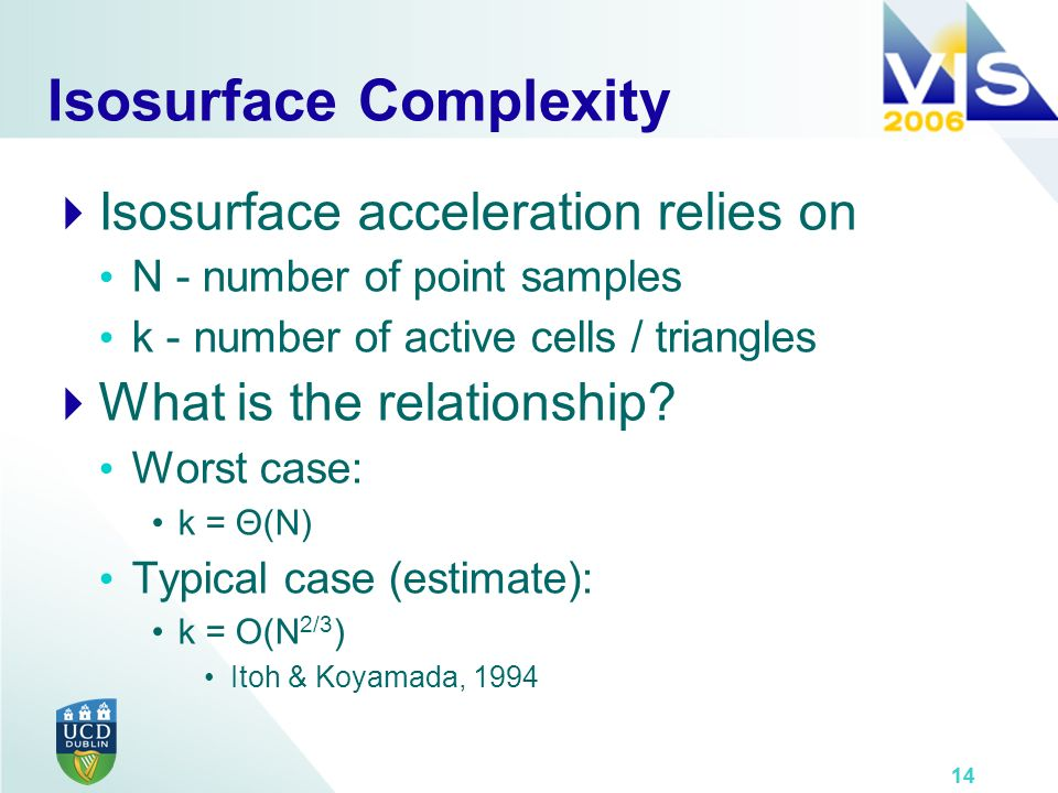 14 Isosurface Complexity Isosurface acceleration relies on N - number of point samples k - number of active cells / triangles What is the relationship.