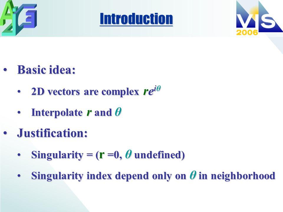 Basic idea:Basic idea: 2D vectors are complex re iθ2D vectors are complex re iθ Interpolate r and θInterpolate r and θ Justification:Justification: Si