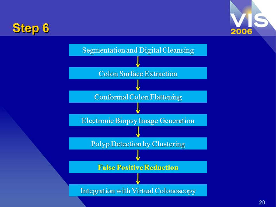 Step 6 20 Segmentation and Digital Cleansing Colon Surface Extraction Conformal Colon Flattening Electronic Biopsy Image Generation Polyp Detection by Clustering False Positive Reduction Integration with Virtual Colonoscopy