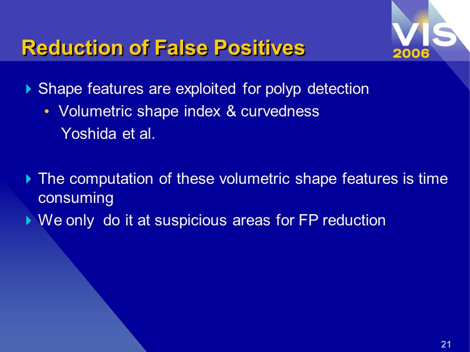 Reduction of False Positives Shape features are exploited for polyp detection Volumetric shape index & curvedness Yoshida et al.