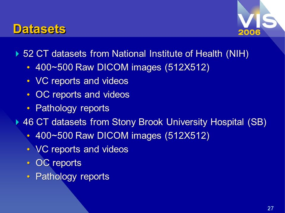 27 Datasets 52 CT datasets from National Institute of Health (NIH) 52 CT datasets from National Institute of Health (NIH) 400~500 Raw DICOM images (512X512) 400~500 Raw DICOM images (512X512) VC reports and videos VC reports and videos OC reports and videos OC reports and videos Pathology reports Pathology reports 46 CT datasets from Stony Brook University Hospital (SB) 46 CT datasets from Stony Brook University Hospital (SB) 400~500 Raw DICOM images (512X512) 400~500 Raw DICOM images (512X512) VC reports and videos VC reports and videos OC reports OC reports Pathology reports Pathology reports
