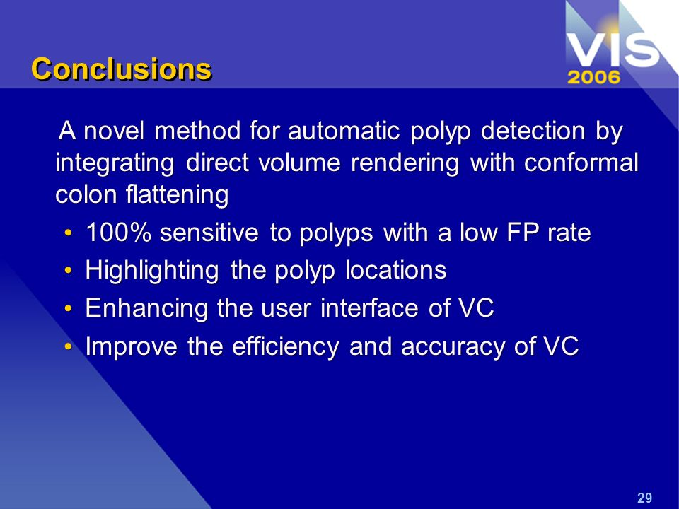 Conclusions A novel method for automatic polyp detection by integrating direct volume rendering with conformal colon flattening 100% sensitive to poly