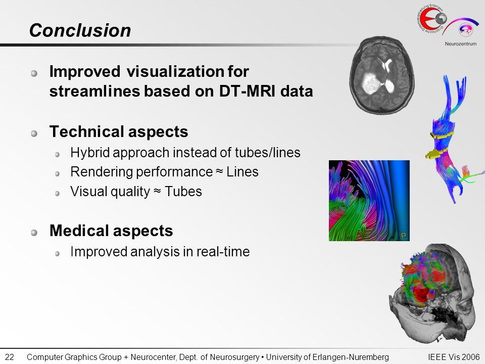 IEEE Vis 2006Computer Graphics Group + Neurocenter, Dept. of Neurosurgery University of Erlangen-Nuremberg22 Conclusion Improved visualization for str