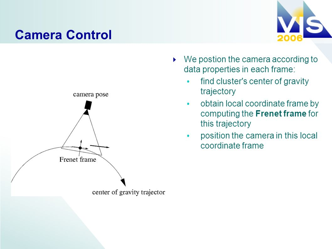 Camera Control We postion the camera according to data properties in each frame: find cluster s center of gravity trajectory obtain local coordinate frame by computing the Frenet frame for this trajectory position the camera in this local coordinate frame