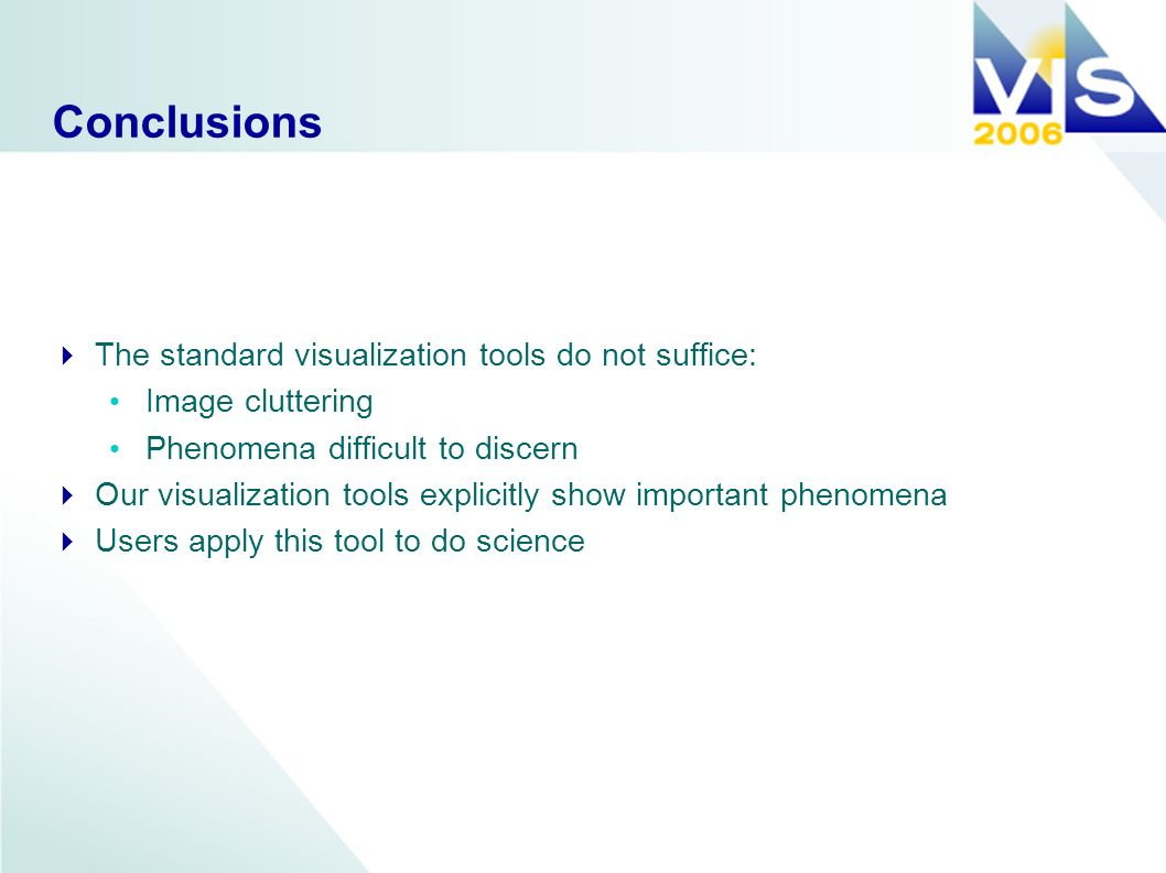 Conclusions The standard visualization tools do not suffice: Image cluttering Phenomena difficult to discern Our visualization tools explicitly show important phenomena Users apply this tool to do science