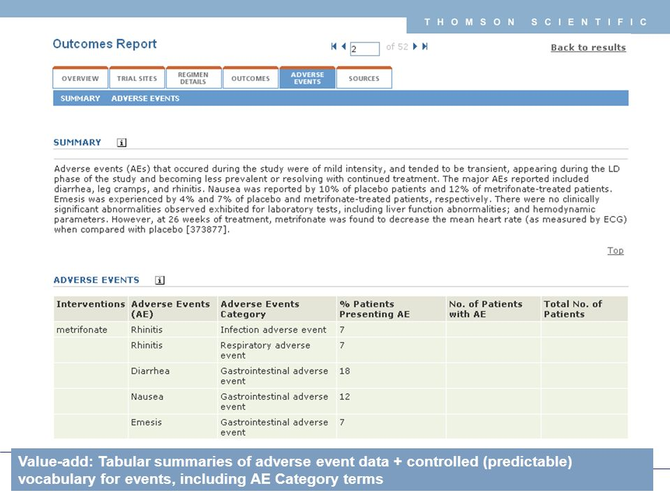 Copyright 2008 Thomson Corporation 37 T H O M S O N S C I E N T I F I C Value-add: Tabular summaries of adverse event data + controlled (predictable) vocabulary for events, including AE Category terms