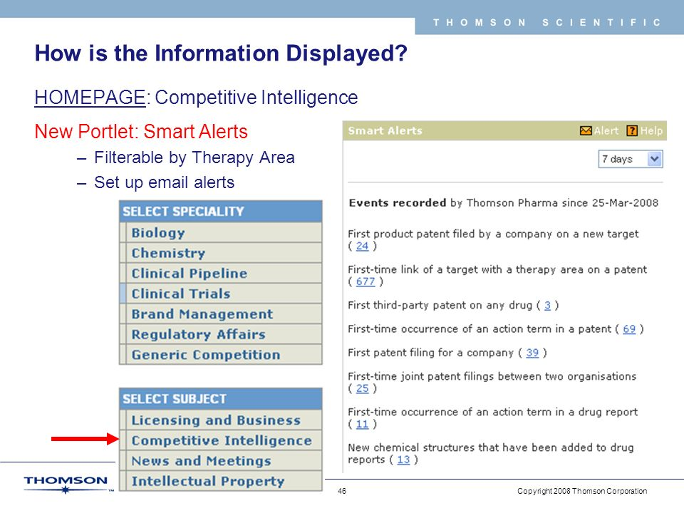 Copyright 2008 Thomson Corporation 46 T H O M S O N S C I E N T I F I C How is the Information Displayed.