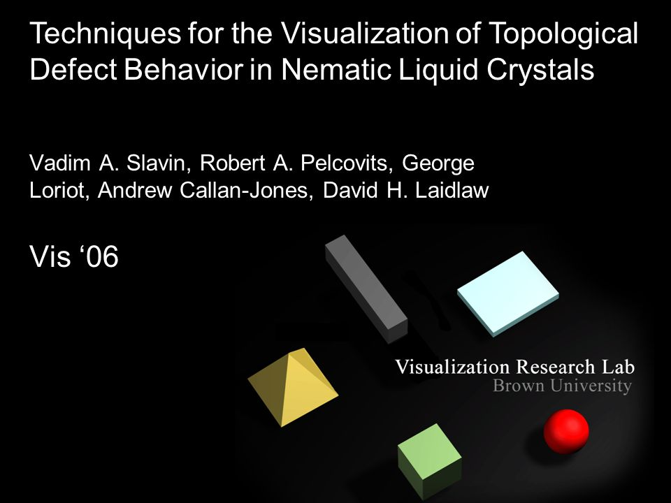 Vadim A. Slavin, Robert A. Pelcovits, George Loriot, Andrew Callan-Jones, David H. Laidlaw Vis 06 Techniques for the Visualization of Topological Defe