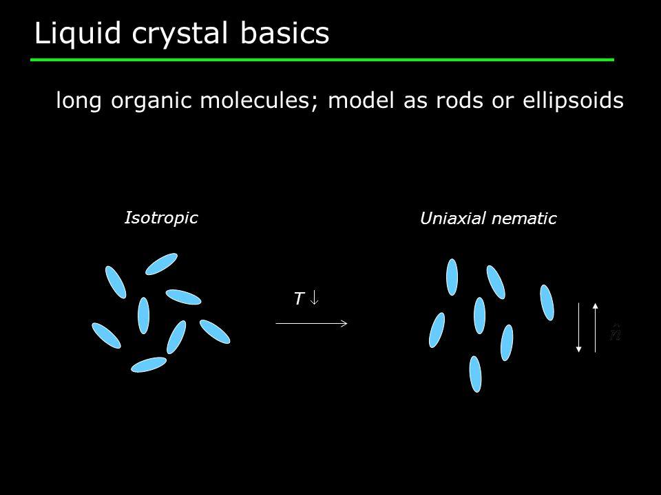 Liquid crystal basics T long organic molecules; model as rods or ellipsoids Uniaxial nematic Isotropic