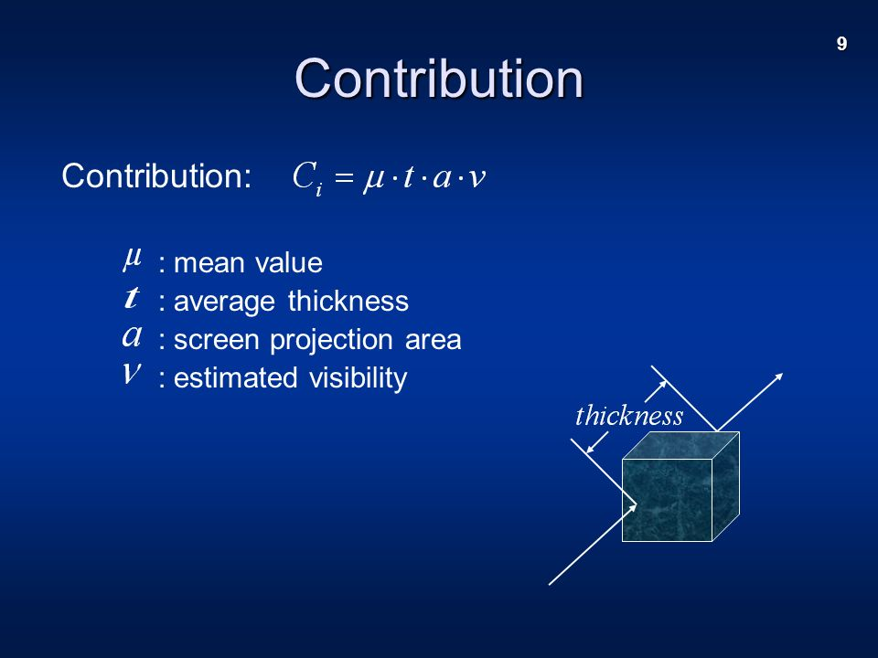 9 Contribution: : mean value : average thickness : screen projection area : estimated visibility Contribution