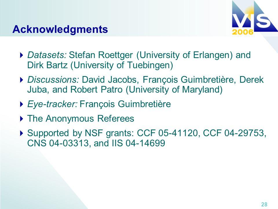 28 Acknowledgments Datasets: Stefan Roettger (University of Erlangen) and Dirk Bartz (University of Tuebingen) Discussions: David Jacobs, François Gui