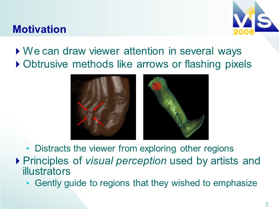 3 Motivation We can draw viewer attention in several ways Obtrusive methods like arrows or flashing pixels Distracts the viewer from exploring other regions Principles of visual perception used by artists and illustrators Gently guide to regions that they wished to emphasize