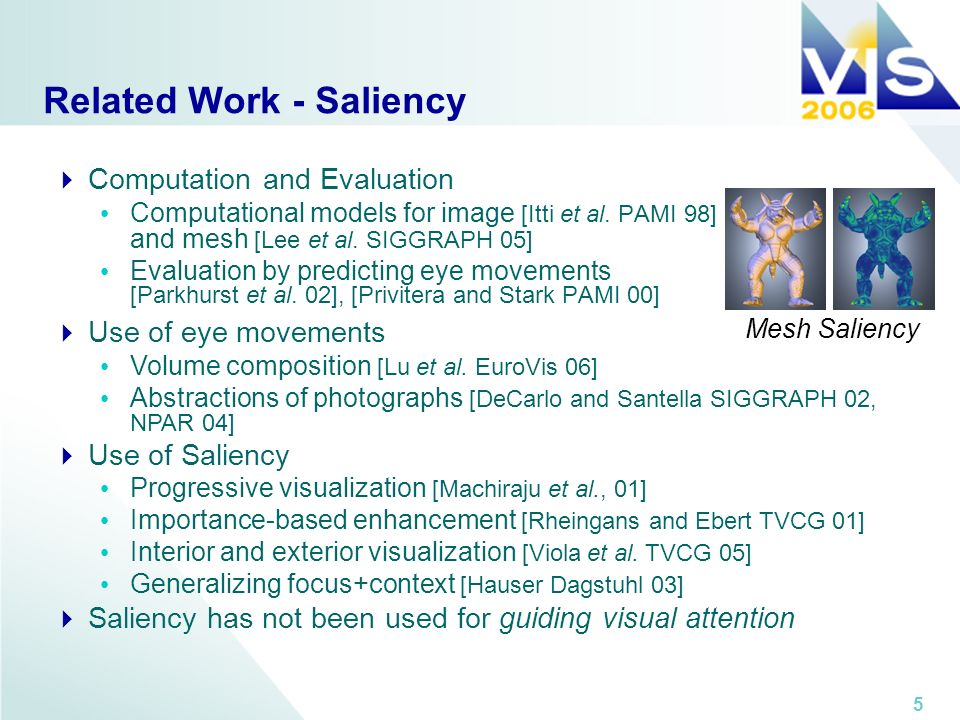 5 Related Work - Saliency Computation and Evaluation Computational models for image [Itti et al. PAMI 98] and mesh [Lee et al. SIGGRAPH 05] Evaluation