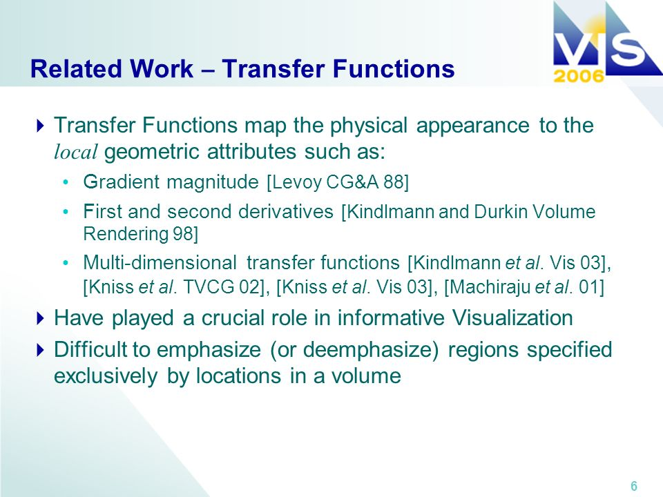 6 Related Work – Transfer Functions Transfer Functions map the physical appearance to the local geometric attributes such as: Gradient magnitude [Levo