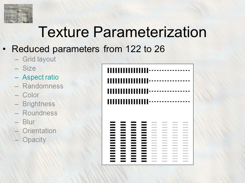 Reduced parameters from 122 to 26 –Grid layout –Size –Aspect ratio –Randomness –Color –Brightness –Roundness –Blur –Orientation –Opacity Texture Parameterization