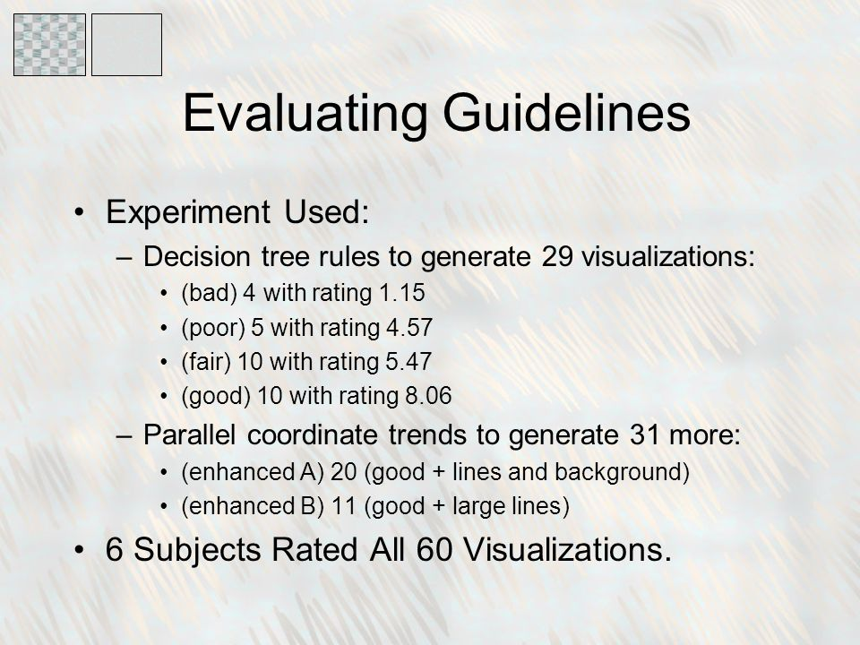 Evaluating Guidelines Experiment Used: –Decision tree rules to generate 29 visualizations: (bad) 4 with rating 1.15 (poor) 5 with rating 4.57 (fair) 10 with rating 5.47 (good) 10 with rating 8.06 –Parallel coordinate trends to generate 31 more: (enhanced A) 20 (good + lines and background) (enhanced B) 11 (good + large lines) 6 Subjects Rated All 60 Visualizations.