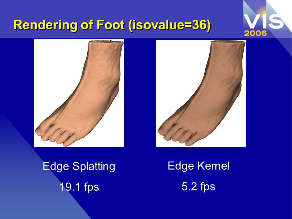 Rendering of Foot (isovalue=36) Edge Splatting 19.1 fps Edge Kernel 5.2 fps