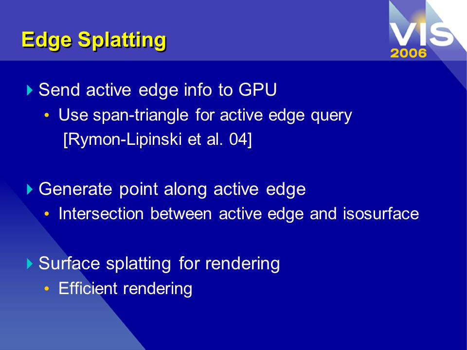 Edge Splatting Send active edge info to GPU Use span-triangle for active edge query [Rymon-Lipinski et al.