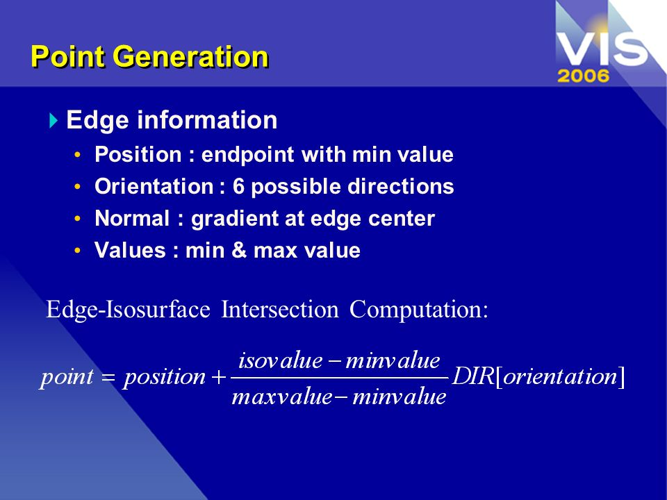 Point Generation Edge information Position : endpoint with min value Orientation : 6 possible directions Normal : gradient at edge center Values : min & max value Edge-Isosurface Intersection Computation: