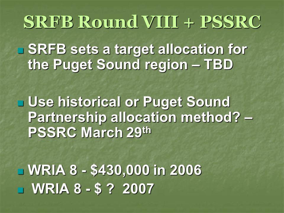 SRFB Round VIII + PSSRC SRFB sets a target allocation for the Puget Sound region – TBD SRFB sets a target allocation for the Puget Sound region – TBD Use historical or Puget Sound Partnership allocation method.
