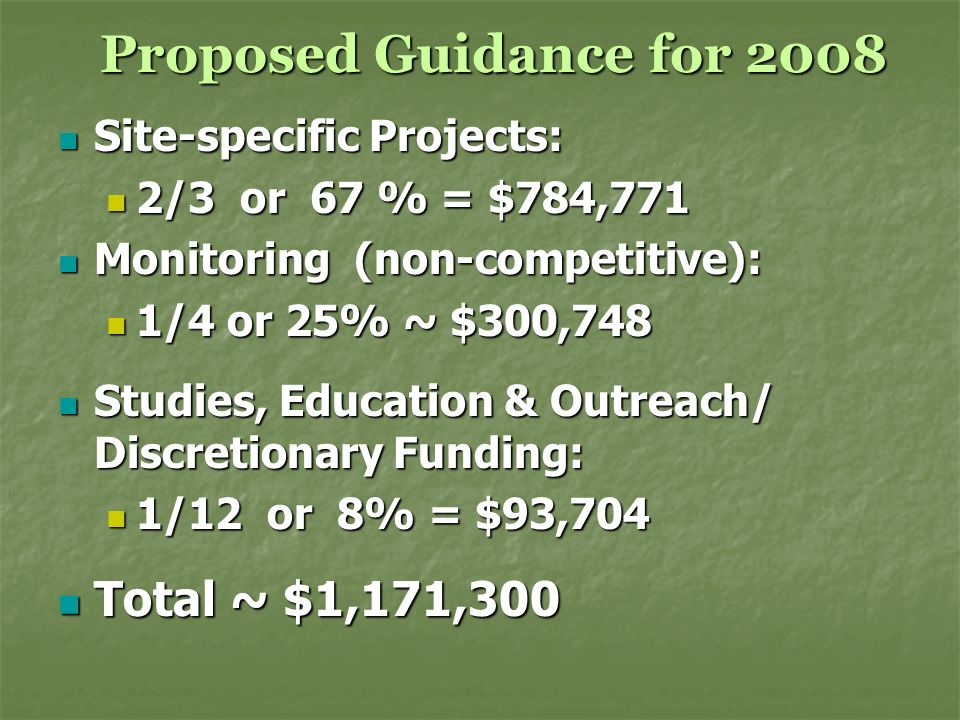 Proposed Guidance for 2008 Proposed Guidance for 2008 Site-specific Projects: Site-specific Projects: 2/3 or 67 % = $784,771 2/3 or 67 % = $784,771 Mo