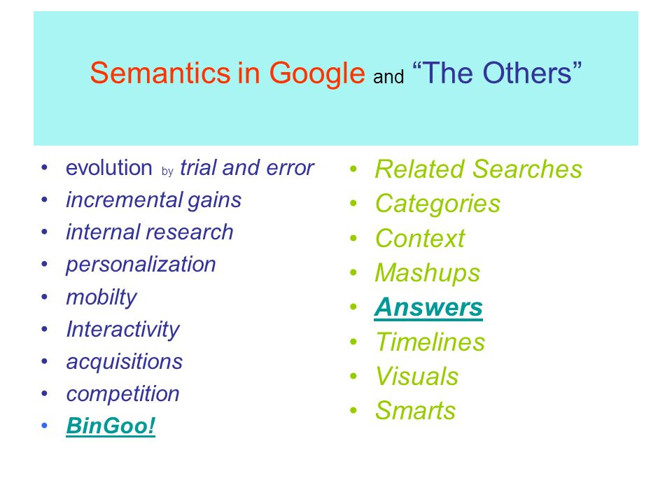 Semantics in Google and The Others evolution by trial and error incremental gains internal research personalization mobilty Interactivity acquisitions competition BinGoo.
