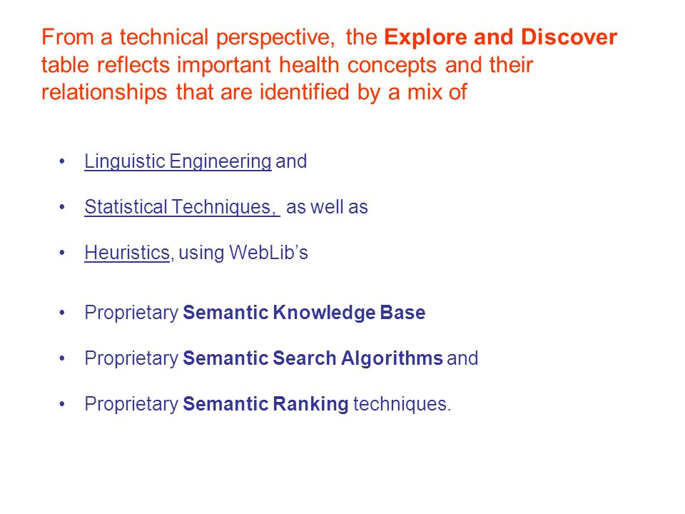 From a technical perspective, the Explore and Discover table reflects important health concepts and their relationships that are identified by a mix of Linguistic Engineering and Statistical Techniques, as well as Heuristics, using WebLibs Proprietary Semantic Knowledge Base Proprietary Semantic Search Algorithms and Proprietary Semantic Ranking techniques.