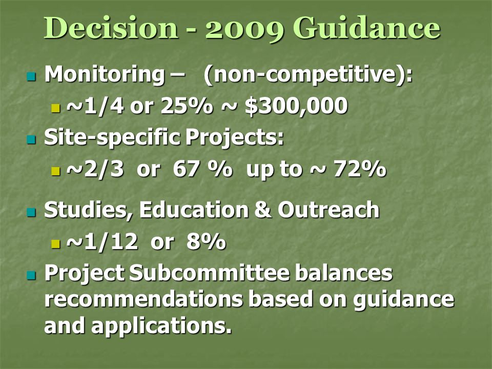 Decision - 2009 Guidance Monitoring – (non-competitive): Monitoring – (non-competitive): ~1/4 or 25% ~ $300,000 ~1/4 or 25% ~ $300,000 Site-specific P