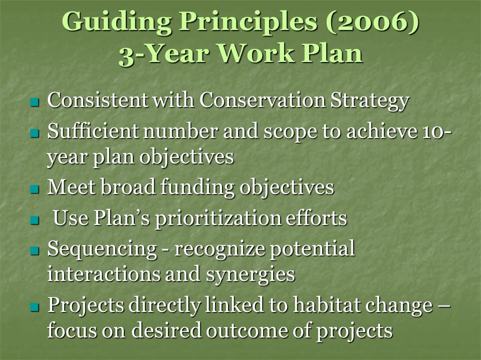 Guiding Principles (2006) 3-Year Work Plan Consistent with Conservation Strategy Consistent with Conservation Strategy Sufficient number and scope to