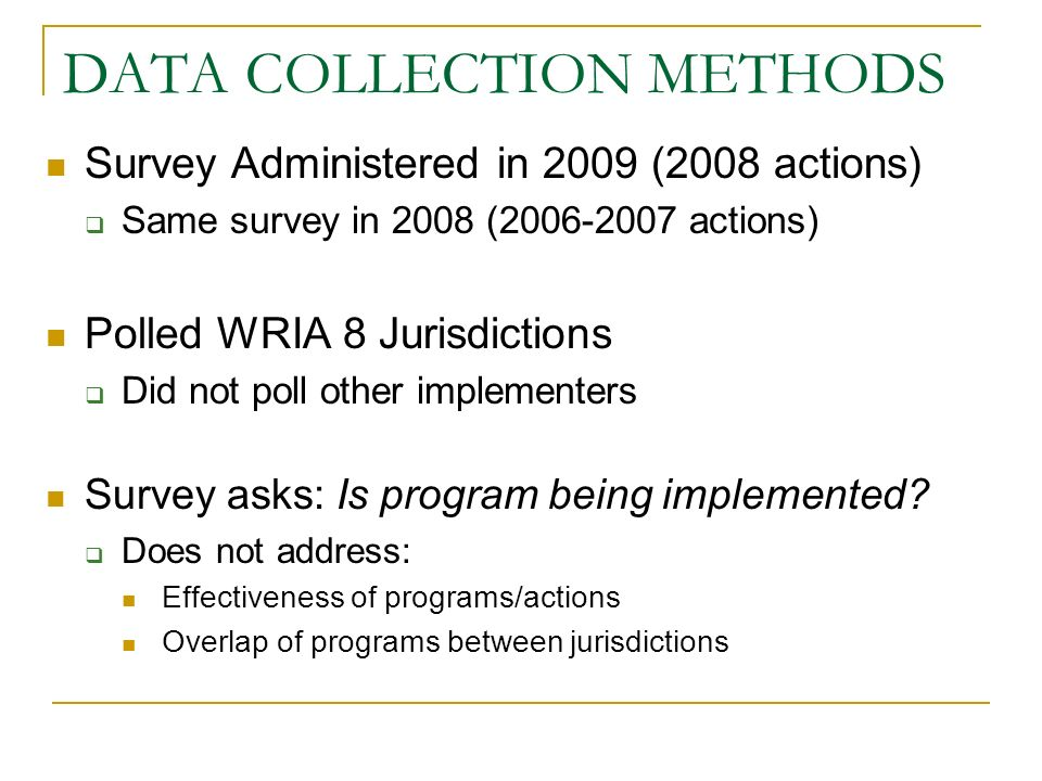 DATA ANALYSIS May be problematic to compare raw numbers between 2008 & 2009 Smaller number of respondents in 2008 Results analyzed differently between years 2008: Jurisdictions (by number) 2009: Jurisdictions, Population, and Land Area (by percent) 2009 analysis includes new element Program Ranking