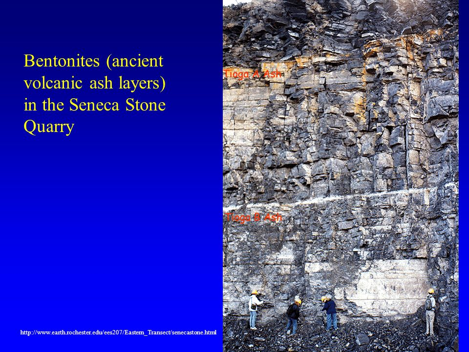 Bentonites (ancient volcanic ash layers) in the Seneca Stone Quarry http://www.earth.rochester.edu/ees207/Eastern_Transect/senecastone.html