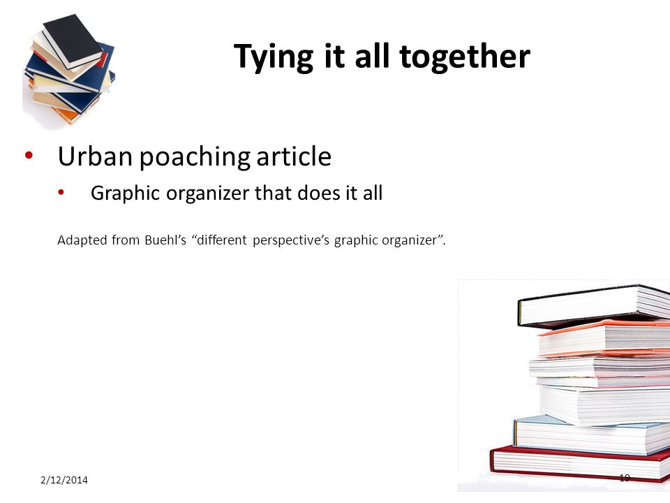Tying it all together Urban poaching article Graphic organizer that does it all Adapted from Buehls different perspectives graphic organizer.