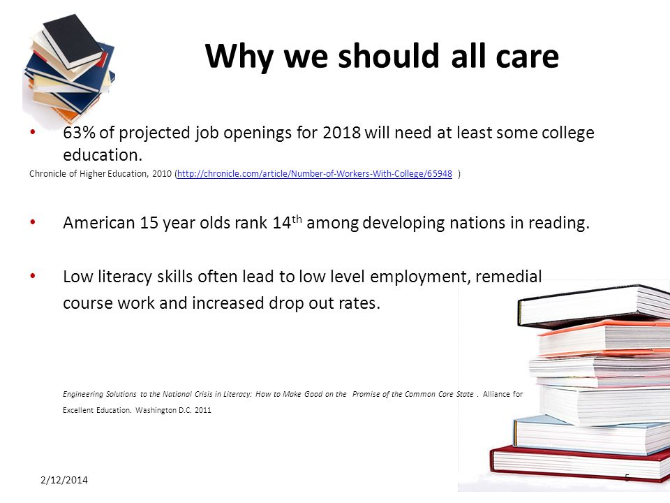 Why we should all care 63% of projected job openings for 2018 will need at least some college education. Chronicle of Higher Education, 2010 (http://c