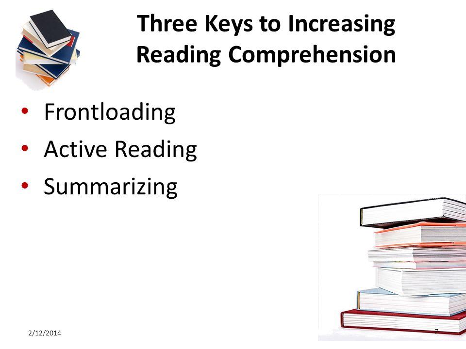 Three Keys to Increasing Reading Comprehension Frontloading Active Reading Summarizing 2/12/2014 7
