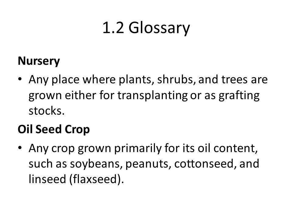 1.2 Glossary Nursery Any place where plants, shrubs, and trees are grown either for transplanting or as grafting stocks.