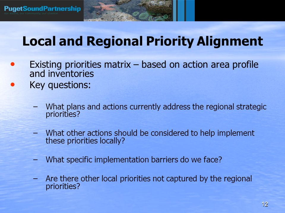 12 Local and Regional Priority Alignment Existing priorities matrix – based on action area profile and inventories Key questions: – –What plans and actions currently address the regional strategic priorities.