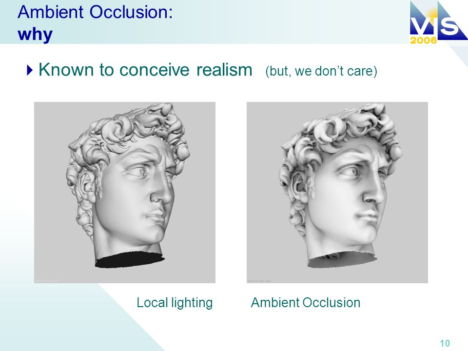 10 Ambient Occlusion: why Known to conceive realism (but, we dont care) Local lightingAmbient Occlusion