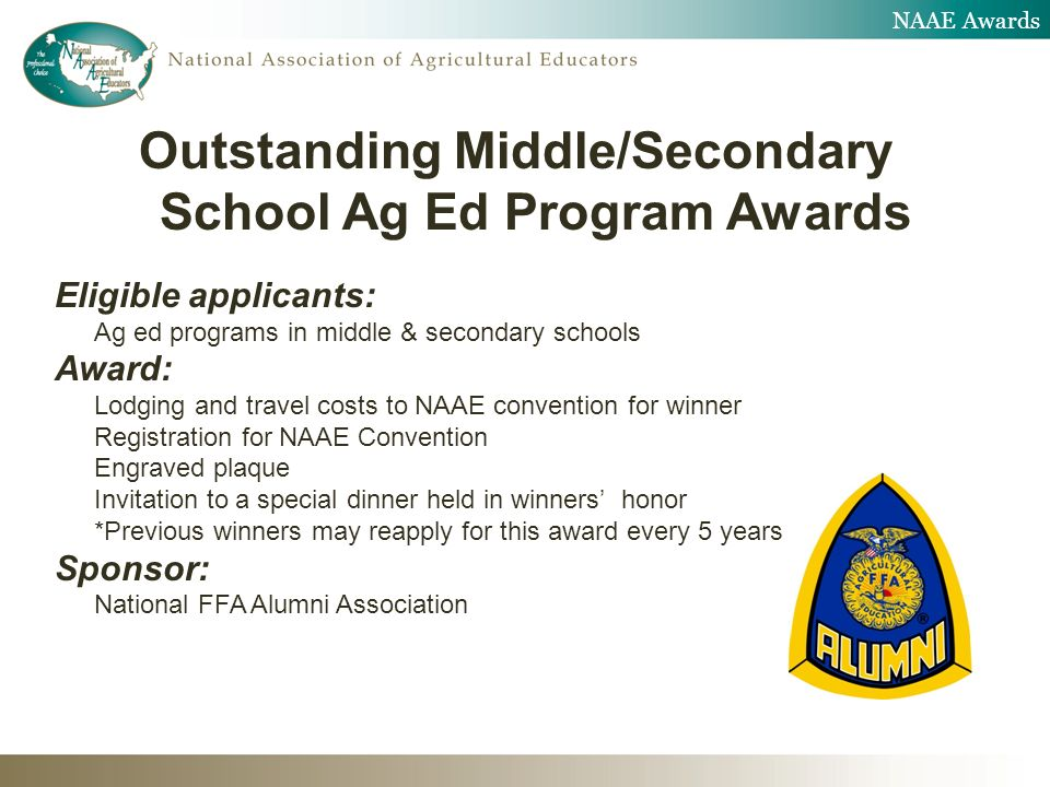 NAAE Awards Outstanding Middle/Secondary School Ag Ed Program Awards Eligible applicants: Ag ed programs in middle & secondary schools Award: Lodging