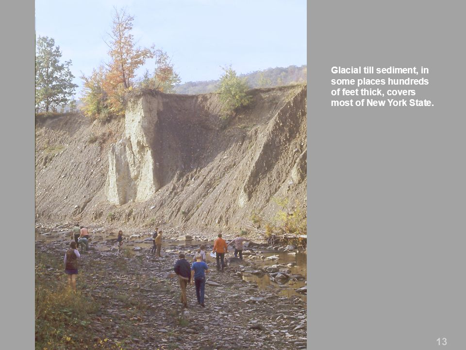 Glacial till sediment, in some places hundreds of feet thick, covers most of New York State. 13