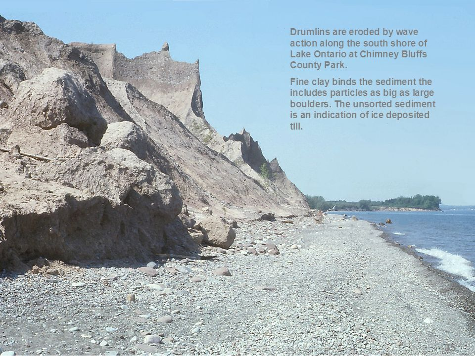 Drumlins are eroded by wave action along the south shore of Lake Ontario at Chimney Bluffs County Park. Fine clay binds the sediment the includes part